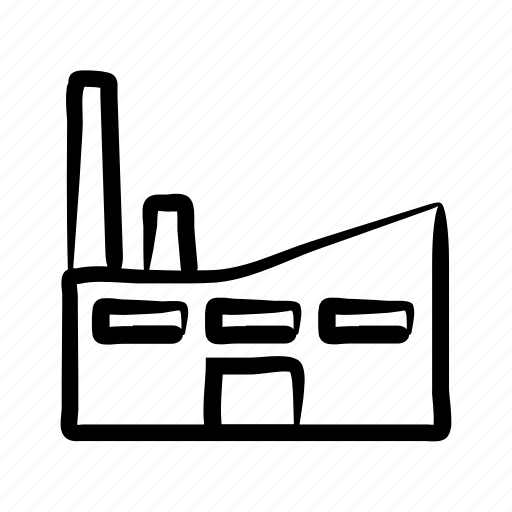building, factory, hand drawn, industry, manufacturer, production icon