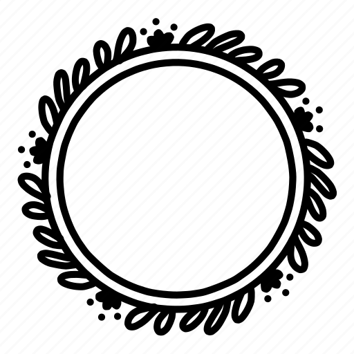 circle, decoration, doodle, floral, frame, leaves, wreath icon