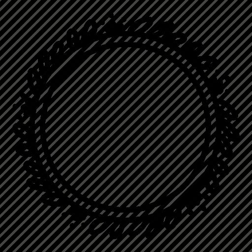 Circle, decoration, doodle, floral, frame, leaves, wreath icon - Download on Iconfinder