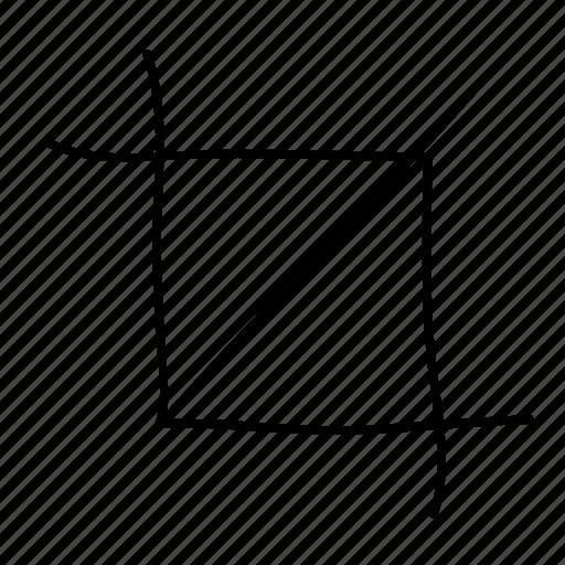 crop, crop tool, drawn, graphic design, handdrawn, sketch, sketchy icon