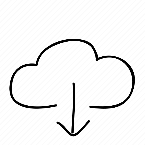 cloud, download, drawn, handdrawn, remote server, sketch, sketchy icon