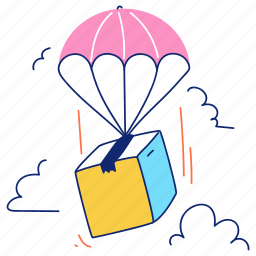 delivery, airdrop, drop, parachute, logistic, package, box