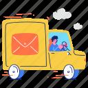 delivery, mail, email, truck, transportation, transport, man