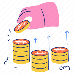 finance, coin, cash, increase, arrows, hand, gesture