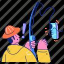 hobby, man, fishing, pole, activity