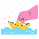 hobby, activity, paper, boat, fold, hand, gesture