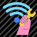 maintenance, wifi, wireless, internet, preferences, wrench