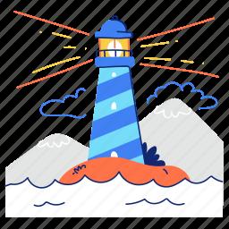 navigation, lighthouse, light, tower, sea, ocean, mountain