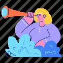 search, explore, browse, find, telescope, woman