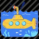 travel, transportation, submarine, sea, ocean, explore, navigation