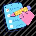 workflow, checklist, list, pencil, notebook, notepad