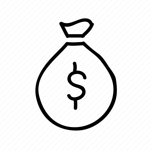 banking, drawn, finance, financial, money, money bag, sketch icon