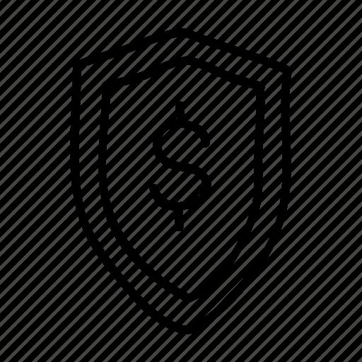 banking, drawn, finance, financial, money, shield, sketch icon