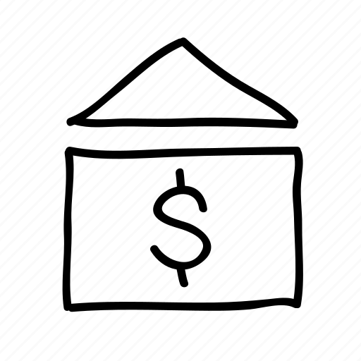 banking, drawn, finance, financial, house, money, sketch icon