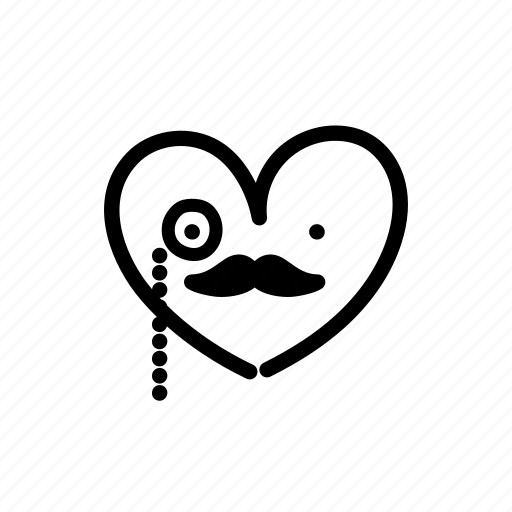 carnival, costume, gentleman, halloween, heart, monocle, moustache icon
