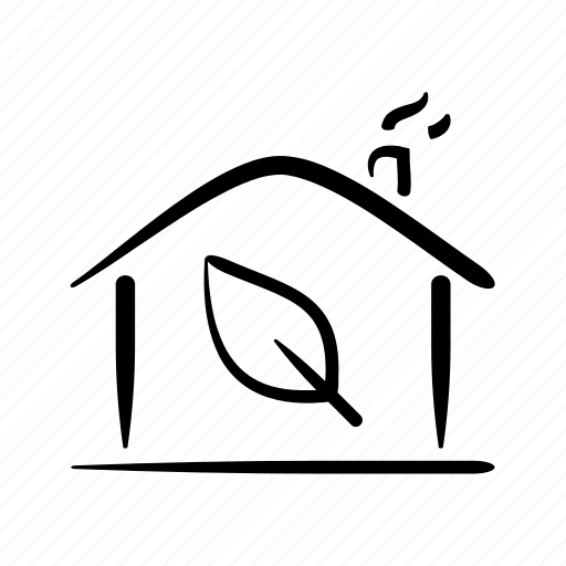 clean, eco, green, hand drawn, home, house, property icon