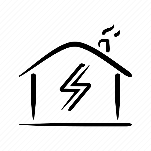 electricity, energy, hand drawn, home, house, power, property icon