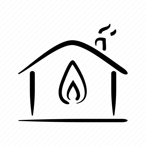 flame, gas, hand drawn, heating, home, house, property icon