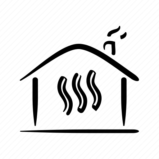 hand drawn, heat, heating, home, house, property, steam icon