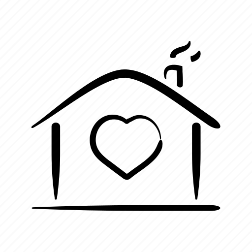 hand drawn, home, house, lovers, property icon