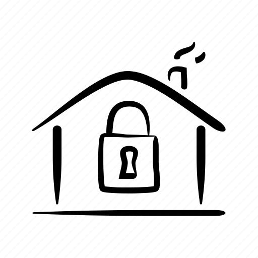 alarm, hand drawn, home, house, lock, property, security icon
