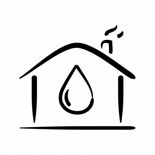 flood, hand drawn, home, house, leake, property, water icon