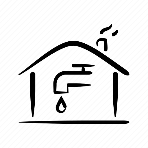 hand drawn, home, house, property, supply, tap, water icon