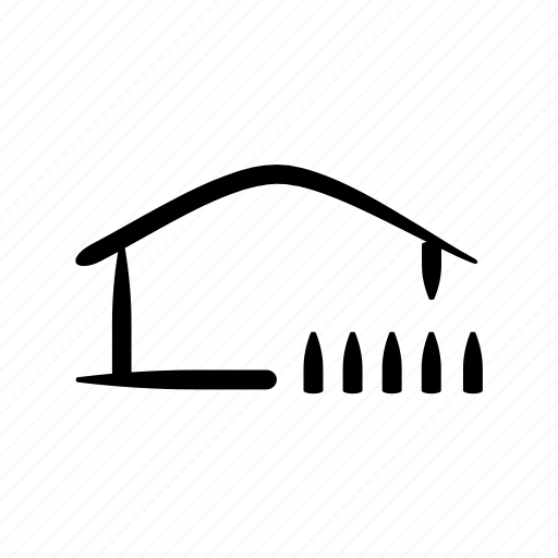 cottage, fence, hand drawn, house, housing, property, real estate icon