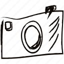 camera, drawn, hand, minimal, picture, technology icon