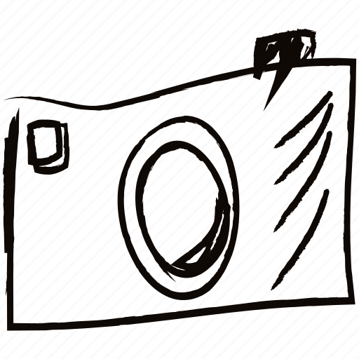 Camera drawn hand minimal picture technology icon for Camera minimal