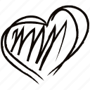 drawing, drawn, hand, heart, like, love icon