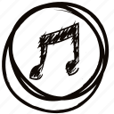 drawn, hand, music, play, radio, song icon