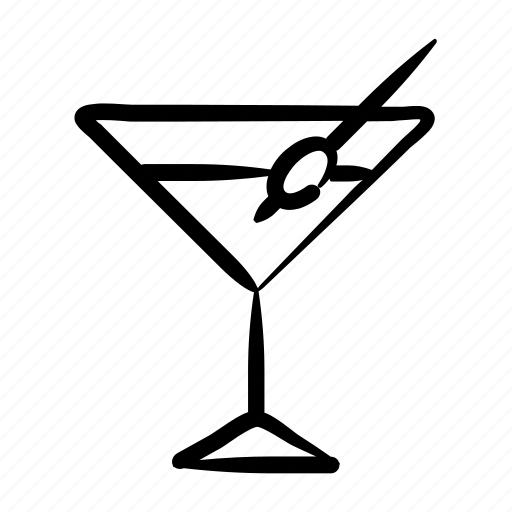 alcohol, bar, cocktail, drink, hand drawn, martini, party icon