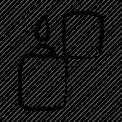 fire, hand drawn, light, lighter, smoker, zipper icon