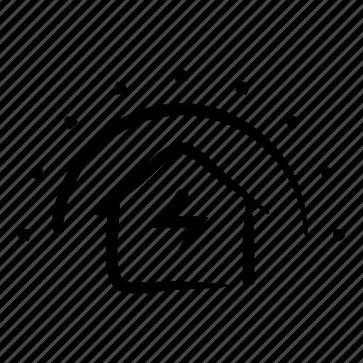 hand drawn, heating, home, house, powered, solar, sun icon