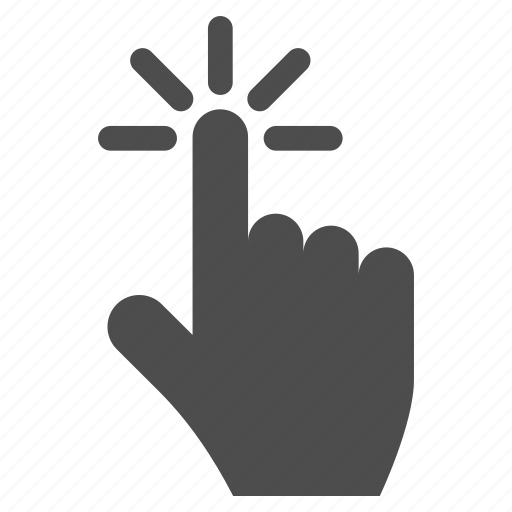 click, cursor, index finger, point, pointer, press button, touch icon