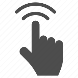 click, gesture, index finger, point, pointer, press, touch icon