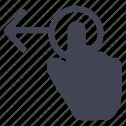 arrow, drag, gestures, hand, left icon