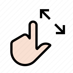 expand, finger, gestures, hand, touch icon