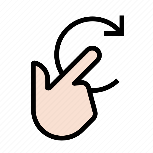 finger, gestures, hand, right, rotate, touch icon