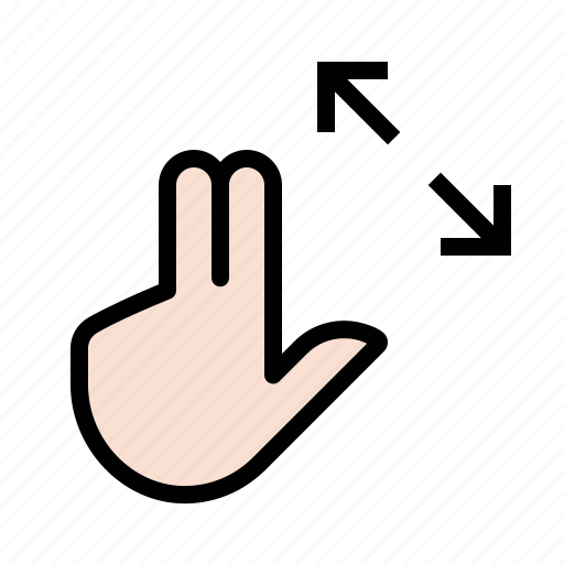 expand, fingers, gestures, hand, touch icon