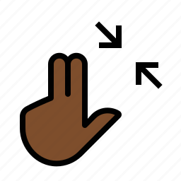 contract, finger, gestures, hand, touch, two icon