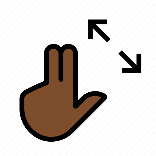 expand, finger, gestures, hand, touch, two icon