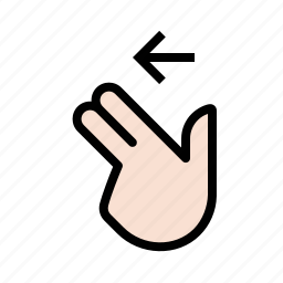 finger, gestures, hand, left, swipe, touch, two icon