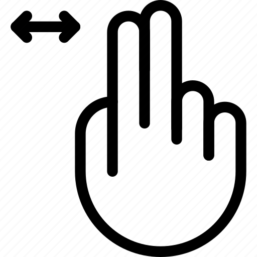 double, finger, left, move, right, slide, tap icon