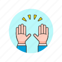 appreaciate, gesture, hand, hug, interaction, palm, raise icon