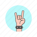 bracelet, front, gesture, hand, horns, metal, music, rock icon
