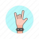 bracelet, gesture, hand, horns, metal, music, rock, sign icon