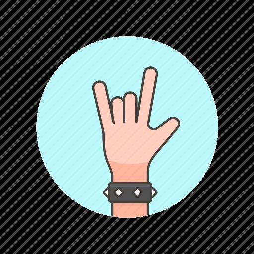 bracelet, gesture, hand, horns, metal, music, rock, sign icon