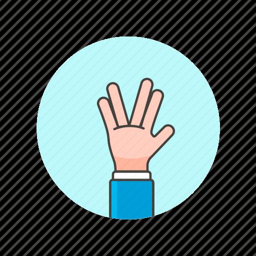 fingers, gesture, hand, sign, split, spock, v icon